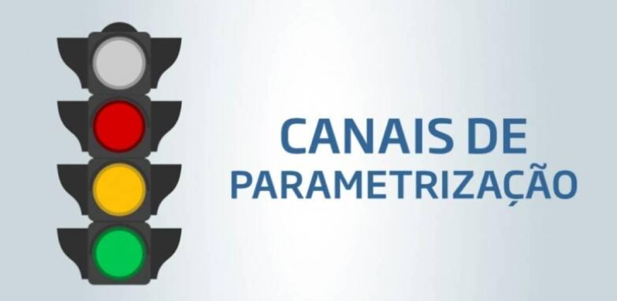 semáforo representando os canais de parametrização da Receita Federal